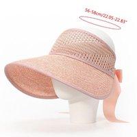 Geniş Ağız Şapkalar 1 Parça El Yapımı Yaz kadın Güneş Şapka Kova Dantel Ilmek Çiçekler Şerit Düz Top Kızlar Saman Plaj Açık R1WE