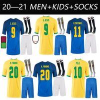 Brazils 2021 Jersey di calcio Camiseta Futbol Paqueta Neres Coutinho Camicia da calcio Firmino Gesù Marcelo 21 22 Maillot deleva Brasil Brasil Adulto + Bambini Kit calzini