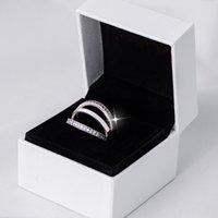 Prawdziwe 925 Sterling Silver Pierścienie Dla Kobiet CZ Diament z oryginalnym pudełkiem Set Fit Pandora Styl Pierścień ślubny Biżuteria