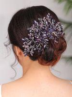 البوهيمي غطاء الرأس الأزرق الأسود الأرجواني أغطية الرأس جميلة النساء مشط الشعر كريستال الشعر مجوهرات الزفاف اكسسوارات للشعر الزفاف