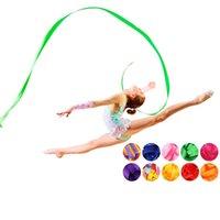 4M bunte Fitnessstudio-Bänder-Tanzband Rhythmische Kunst-Gymnastik-Ballett-Streamer-Twirling-Rod-Stick für Gym-Training Prof. Jlgad 871 Z2