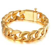 Link, Chain Fashion Polished 316L Stainless Steel Bracelet For Men Boy Cut Curb Cuban Link Male Hip Hop Jewelry Gift 15mm
