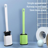 1pcs Toilet Brush Water Leak Proof With Base Silicone Wc Flat Head Flexible Soft Bristles Quick Drying Holder Set Bath Accessory