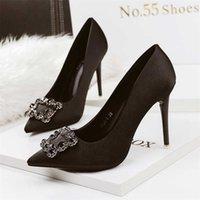 Chaussures féminines Pumps Pointe Pointe peu peu profonde Bouche 10,5 cm Talons hauts Nightclub Sexy Stiletto Boucle de diamant Mariage 210610