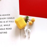Case with Cherry Pendant for Airpods 1st 2nd Soft Silicone Flexible Cases Cover Cute Shockproof Earphone Protector Wholesale Bulk Yellow Pink Red 97232