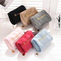 Mulheres Zipper Velvet Maquiagem Bag Viagem Cosméticos Sacos Color Sólida Mini Mini Portátil Multifuncional Batom Casos