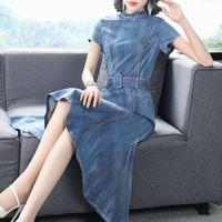 Yaz kadın Kısa Kollu Katı Renk Ekleme Gösterisi Ince Yüksek Bel Orta Uzunlukta Denim Etek Elbise