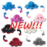 NEW!!! Wedding Favors Doll Cute Reversible Flip Octopus Stuffed Soft Dolls Double-sided Expression Plush Toy fidget toys Christmas Gifts Wholesale