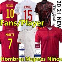 2021 Espana Soccer Jerseys Rodrigo Torres إسبانيا المشجعين لاعب نسخة كرة القدم قمصان موراتا راموس تياجو إينيستا الرجال النساء الاطفال كيت بولو التدريب camisetas دي فوتبول