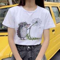 Досуг женской футболки ежа и одуванчик мода печатание футболка лето Harajuku с коротким рукавом топы женские футболки одежда