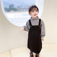 Bahar Kore Kız Tatlı Siyah Kafes Bebek Gömlek + Kayış Elbise Iki Parçalı Suit Toddler Dış Giyim Çocuk Kız Ekose Setleri Giyim