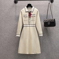 Casual Dresses JSXDHK S-4XL Plus Size Autumn Turn Down Collar Sweater Dress Women's Beaded Bownot Decoration Knitted Bright Silk Plaid