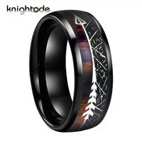 Cluster Rings Black Meteorite Koa Wood Unique Texture Inlay Tungsten Carbide Ring Slivery Arrow Dome Band For 8mm Men Women Jewelry Gift