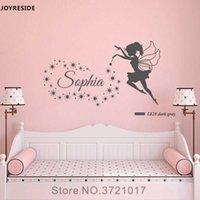 JOYRESIDE Fairy Stars Wall Decal Vinyl Sticker Personalized Custom Name Nursery Girls Baby Kids Child Bedroom Decoration XY060 210615