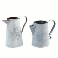 Yaratıcı Vintage Galvanizli Metal Demir Çiçek Bahçe Shabby Vazo Pot Varil Ekici Dekor Masaüstü Çiçekler Ev Vazolar Için