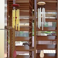 素晴らしいグレースディープ共鳴アンティークメタル木製6チューブWindchime Chapel Bells Wind Chimes Home Ornament手作りギフトDWB9380