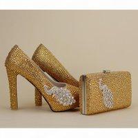 2017 Newest Designer Unique Phenix Decoration Gold Rhinestine Shoes With Matching Bag Party Proms Bridal Wedding High Heels Women Stiletto