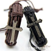 Accessories cow leather bracelet Christian men's Cross biblical woven jewelry