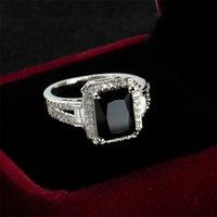 Real 925 Argento con anello di timbro per le donne Anello in pietra zircone nero per le donne regalo romantico gioielli di fidanzamento Anillos Mujer10 753 Q2