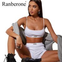 Ranberone 2 pieza serie yoga conjuntos de yoga chaleco + correr pantalones cortos mujer gimnasio ropa sexy traje blanco y negro fitness ropa deportiva ropa