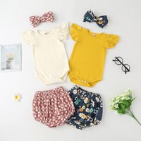kids Clothing Sets girls Floral outfits infant toddler Bow Headband+Flying sleeve Tops+Flower print shorts 3pcs set summer Boutique baby Clothes Z4266