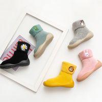 Вышивка зимние дети теплые снежные ботинки носки младенческие мальчики матовые толстые носки обувь детские девушки пинетки мягкие подошвы малышей обувь 842 y2