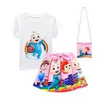 Yaz Cocomelon Kıyafet Bebek Kız Etek Seti Giysi Moda Çocuk Karikatür T Gömlek Üst + Yay Tutu Elbise + Çanta 3 adet Eşofman Çocuk Butik Suit Bezi