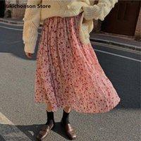 Qiukichonson Bahar Yaz Kadın Moda Pembe Çiçek Etek Kore Sevimli Yüksek Bel Buruşuk Pileli Uzun Midi Etekler Genç Kızlar