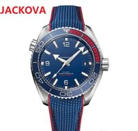 High quality men blue face Olympic Series wristwatch Automatic Mechanical Glass Back mens fabric strap watches