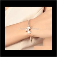 Drop Delivery 2021 Fashion Jewelry Brand Design Sweet Gold Plated Clover Opal Charm Bracelet Exquisite Bracelets Bangle For Women Ladies Litt