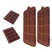12 Cavidad Silicon Molde de chocolate antiadherente Forma de celosía Waffle Chip Molde Pastelería Horneado Horneado Chocolate Horneado DIY Decoración Torta Herramientas DWF6918