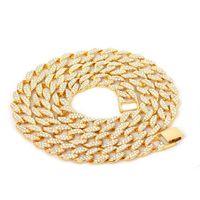 Iced Out Bling Cadenas de Rhinestone Silver Golden Finish Cuban Link Chain Necklace 15mm Hombre Hip Hop Collar Joyería 16 18 20 24 pulgadas 637 K2