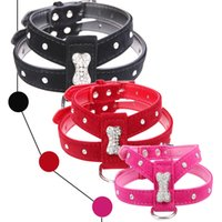 Bling Rhinestone Bone Velvet & Leather Pet Puppy Dog Collar Harness Chihuahua Teacup Care S M L Red Black Hot Pink