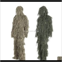 Jacket Sets Clothing Tactical Gear Drop Delivery 2021 3D Universal Camouflage Suits Woodland Clothes Adjustable Size Ghillie Suit For Hunting