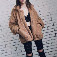 Elegant Faux Fur Coat Women Autumn Winter Warm Soft Zipper Jacket Female Plush Overcoat Pocket Casual Teddy Outwear