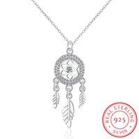 Yutong 100% 925 Sterling Silber Dreamcatcher Feder Charm Halskette Anhänger Dream Catcher Statement Choker