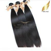 """Cheveux Extensions 8 """"-30"""" Bresilien Vierges Cheveux Tissage Podwójne Perruque Couleur Natuelle 3szt Soyeux Tersje Bellahair 9a DH"""