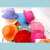 "Party Hats Festive & Supplies Home Garden 15Color 5"" Solid Felt Mini Top Hat Fascinator Base Women Millinery 50Pcs Lot Drop Delivery 2"