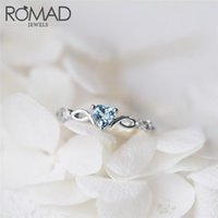Wedding Rings ROMAD Silver For Women Engagement Ring Red Blue CZ Love Heart Valentine's Day Party Gift Fit Lady Fine Jewelry R4