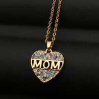 Mom Heart necklace Ziron Diamond pendant Stainless steel chains Necklaces Mother birthday gift will and sandy