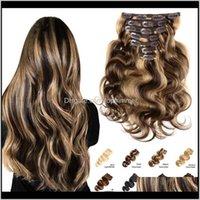 / on / on 제품 드롭 배달 2021 바디 웨이브 인간 omber 클립에서 확장 자연 색상 브라질 Hine remy hair s6jal
