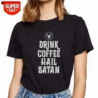 Camiseta Mujer Bebe Coffee Hail Satanás Básico Negro Custom Female Female Fiesta # C941