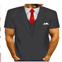 Erkek T-Shirt Komik Sahte Takım Elbise 3D T Gömlek Smokin Papyon Baskılı Gömlek Erkekler Yaz Moda Kısa Kollu Streetwear Yelek tshirt