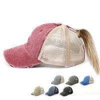 Kostenloser DHL Cowboy Ponytail Mesh Trucker Baseballmütze Für Frauen Einstellbare Erwachsene Hip Hat Hut Lässig Sport Snapback Vati Hüte Caps Girls