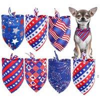 الحيوانات الأليفة الكلاب باندانا الكلب الملابس الملحقات مثلث وشاح تجشؤ القماش الاحتفال الاستقلال يوم الديكور غطاء الرأس القوس التعادل لوازم OWF6147