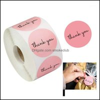 Wrap Event Festive Supplies Home & Garden500Pcs Roll Thank You Stickers Self Adhesive Handmade Labels Wedding Gift Party Decoration1 Drop De
