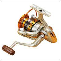 Sports Outdoors500-3000 Serie Carrete de pesca de giro de metal de la rueda distante 5.5: 1 12 Bolas de cojinete Gire la bobina del carrete Baitcasting Reels DR