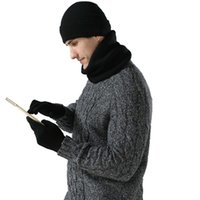 Fashion Knitted Hat Men Women Korean Warm Outdoor Cycling Ear Protection Cap Bib Caps Autumn Winter Wool Soft Plush Thicken Hats Scarf Gloves Three-piece Set