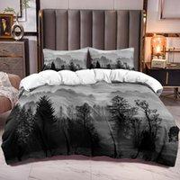 Bedding Sets Morning Mist Forest Duvet Cover For Kids Microfiber Comforter Zipper Closure Corner Ties Teen