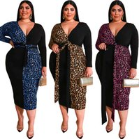 Frauen designer kleidung 2021 kleider leopard drucken farbe passende tiefe v tasche hüfte enger gürtel langes großes frauen kleid